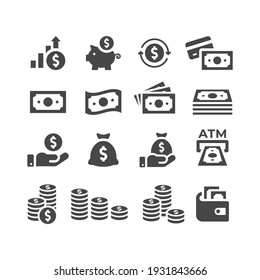 Money or financial vector icon set. Dollar coin, money stack, wallet, banknote finance symbols.