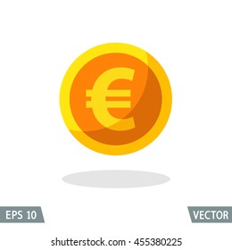 Money flat icon, gold euro symbol. Vector illustration for web and commercial use.