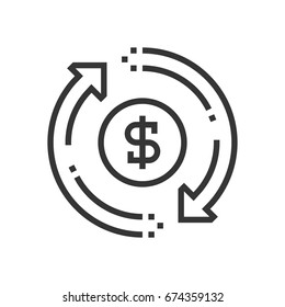 Money flow icon, part of the square icons, car service icon set. The illustration is a vector, editable stroke, thirty-two by thirty-two matrix grid, pixel perfect file.