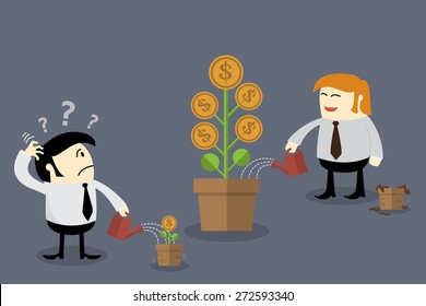 Money flower in different flowerpot size. Finance concept, Thinking concept