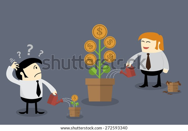 Money flower in different flowerpot size. Finance concept, Thinking concept