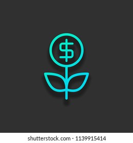 Money flower with dollar. Money tree. Linear icon with thin outline. Colorful logo concept with soft shadow on dark background. Icon color of azure ocean
