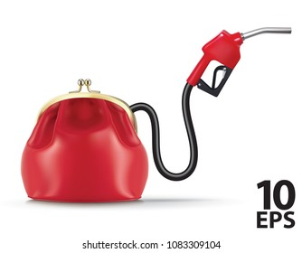 Money flows from the purse through fuel nozzle. Realistic vector 3d illustration