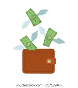 Money fly out of the bag. concept dollars are spent. an icon in a flat style isolation on a white background. easy to use