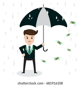 Money is flying away from businessman standing in rain with an umbrella on white background, business concept vector