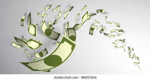 Money flying paper art style vector illustration