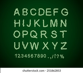 Money font. Letter from dollar. Alphabet of cash. ABC of dollars.