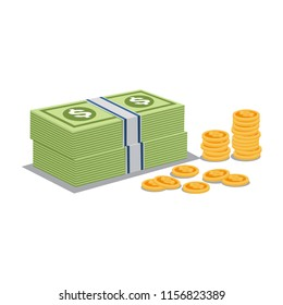 Money and Gold Coins Vector, Money Illustration Template
