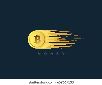Money. Golden coin with bitcoin sign. Vector flat illustration with blockchain technology based crypto currency. Financial or business concept.