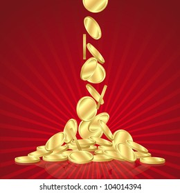 Money golden rain, falling gold coins on red background. vector illustration