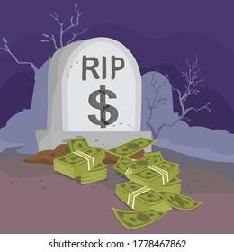 Money Grave Business Dead Money, illustration vector cartoon