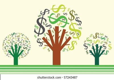 Money growing on trees. Dollar signs. Vector illustration.