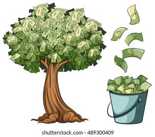 Money grows on tree illustration