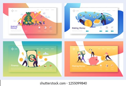 Money Growth Financial Landing Page Set. Making Cash Profit Investment Characters. Increase Savings Deposit for Website or Web Page. Flat Cartoon Vector Illustration