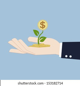 money growth in hand investment concept