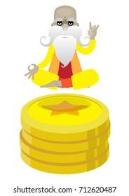 Money guru isolated on white background. Vector illustration