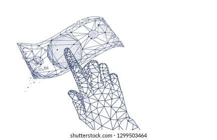 Money with hand. Business illustration in innovation systems analytical. Graphics and development technologies in trade industry. Future technologies geometry style.