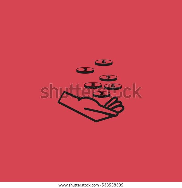 money, hand, icon