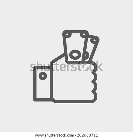 Money Hand Icon Thin Line Web Stock Vector (Royalty Free) 282638711