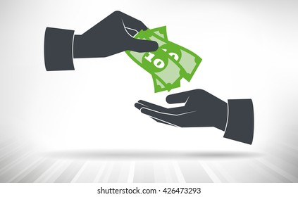 Money handover. One hand giving money bills to another hand