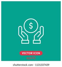"""Money In Hands"" Vector Icon Illustration.Green Backround.Premium Quality."