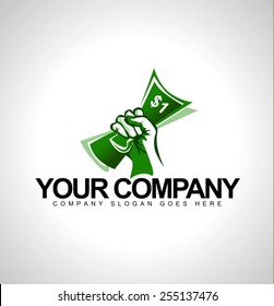 Money Held in Hand Logo. Logo design with one dollar and hand holding it.