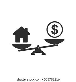 Money and house scales icon. Dollar coin and house balance on scale. Real estate sale. Weights with house and money coin. Vector isolated sign.