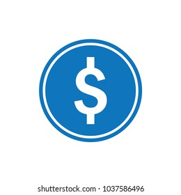 Money icon. blue dollar cash isolated on background. simple flat sign. vector illustration.