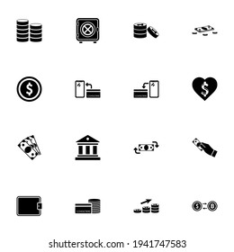 Money icon - Expand to any size - Change to any colour. Perfect Flat Vector Contains such Icons as bank building, safe, coin, love dollar, wallet, currency exchange, credit card, nfs, cash, payment.