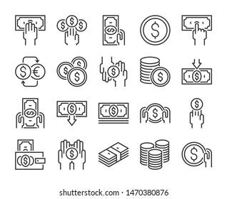 Money icon. Money and finance line icons set. Vector illustration.
