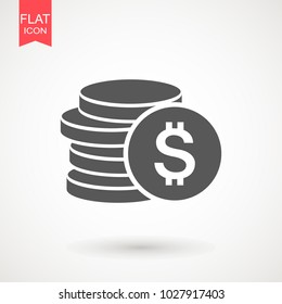 Money icon in flat style. Money currency vector illustration. Payment , Business & finance web icons.