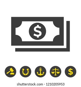 Money icon on white background. Vector Illustration