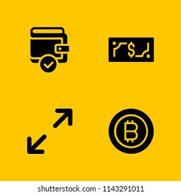 money icon set. bitcoin, maximize and money vector icon for graphic design and web