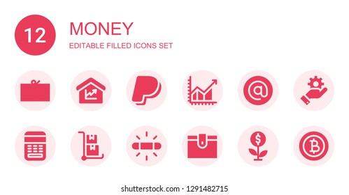 money icon set. Collection of 12 filled money icons included Coupon, Amount, Paypal, Profit, Arroba, Calculator, Trolley, White balance, Wallet, Growth, Management, Baht
