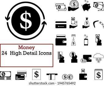 Money Icon Set. Frische und glatte Glyph Design. Vollständig bearbeitbare Vektorgrafik. Text wurde erweitert.