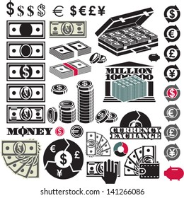 Money icon set. Dollar bill. Million. Currency icons.