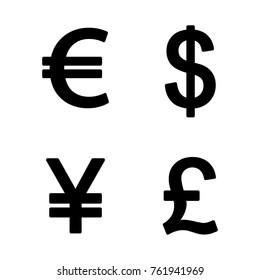 Money icon set. Euro, dollar, yen and pound icon