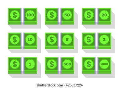 Money icon set. Flat dollar stack icons. Different denominations of bills. 1, 2, 5, 10, 20, 50, 100, 500, 1000 bills stack. Isolated in white.