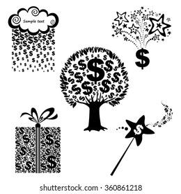 Money icon set isolated on white. Vector Illustration
