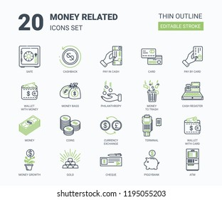 Money icon set in modern flat thin outline stile. Containing such icons as money, atm, credit card, piggy bank, coins, cheque, money exchange and much more.