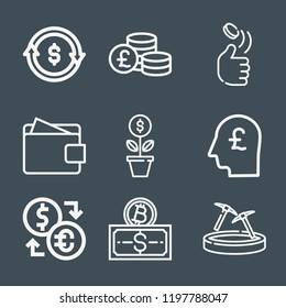 Money icon set - outline collection of 9 vector icons such as coin, transaction, wallet, pound sterling, growth, bitcoin, exchange, head