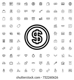 Money icon. set of outline shopping icons.