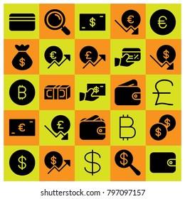 Money icon set vector. money, bag, euro and dollar coin