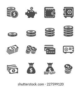 money icon set, vector eps10