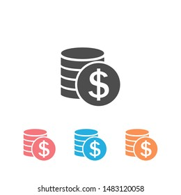 Money Icon Set Vector. Payment system. Coins and Dollar cent Sign isolated on white background. Flat design style