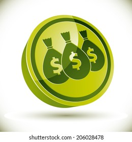 Money icon with three bags, vector.