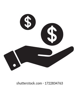 Money icon vector black color