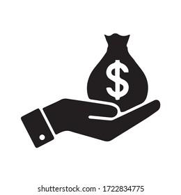 Money icon vector black color