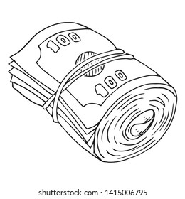 Money icon. Vector illustration of dollar bills rolled into a roll and tied with a rubber band. Hand drawn a stack of bills.