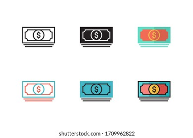 money icon vector illustration with six different style design. isolated on white background